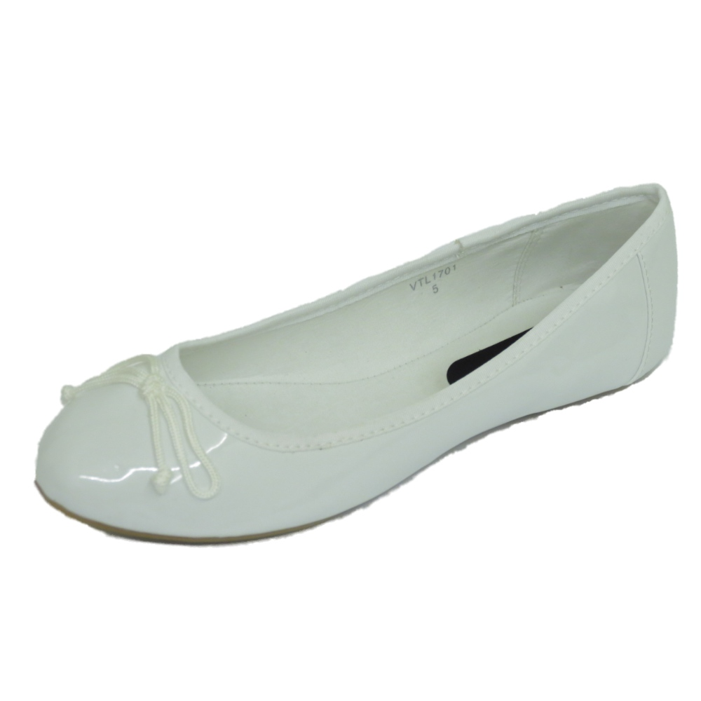womens white dolly flat ballet patent bow
