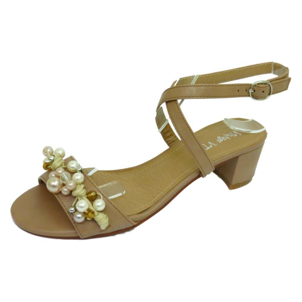 womens low heel beaded ankle sandals
