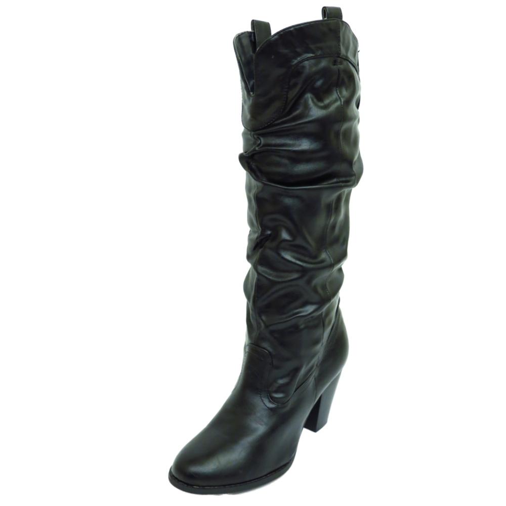 black pull on knee high mid heel cowboy slouch