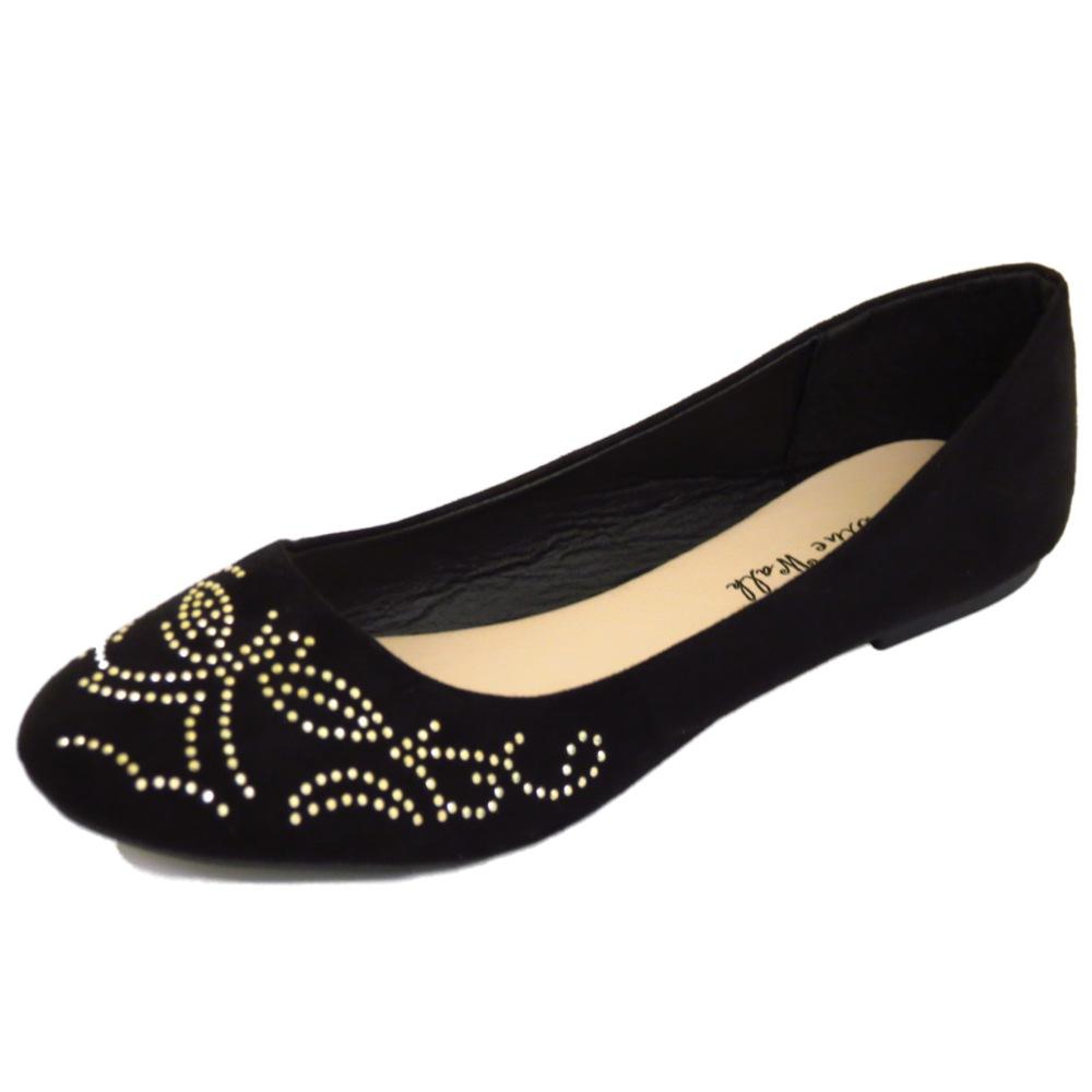 Mujer Plano Negro Sin Cordones Cómodo Zapatos de trabajo Dolly Ballet Escuela