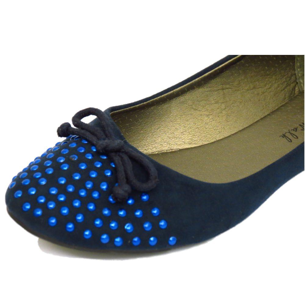 Señoras Navy Slip-on Plana Comfy trabajo Zapatos Escolares Dolly Ballet Bombas Tamaños 3-8