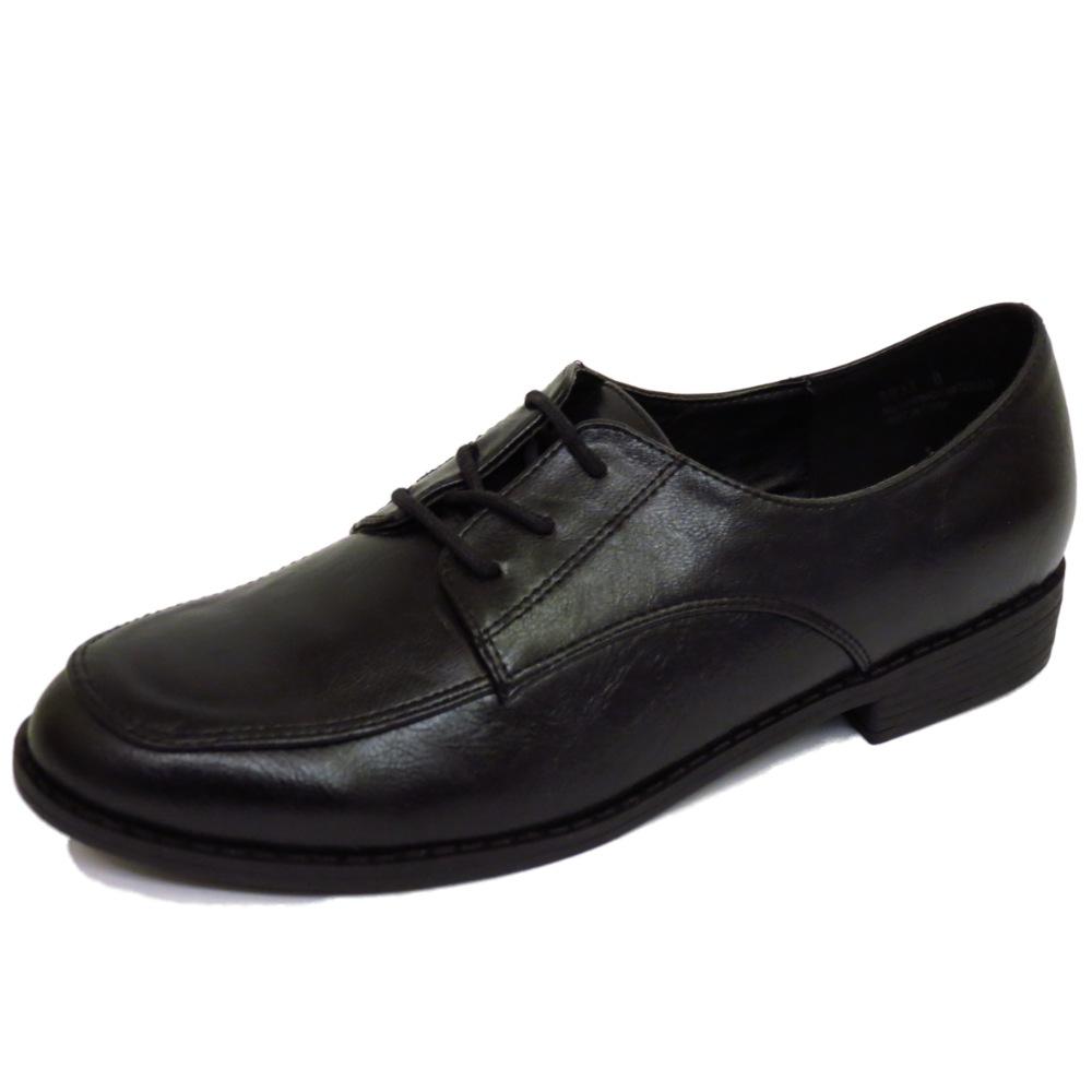 flat black lace up oxford brogue work school