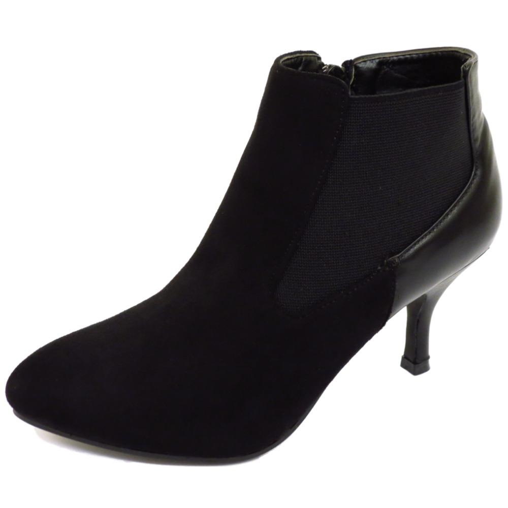 Black Kitten Heel Ankle Boots