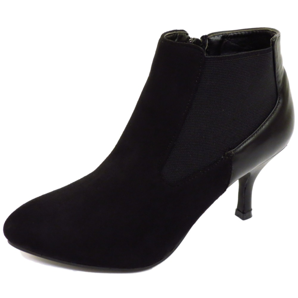 black chelsea kitten heel faux suede zip up ankle
