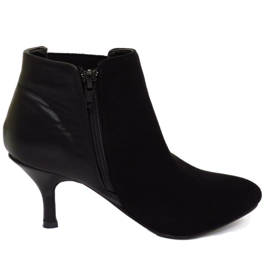 black chelsea kitten heel faux suede zip up ankle