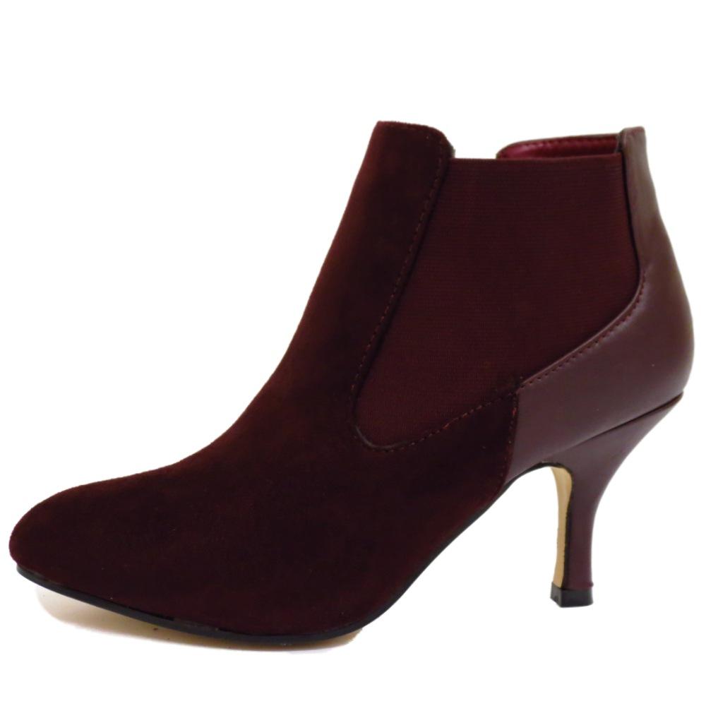 wine chelsea kitten heel faux suede zip up