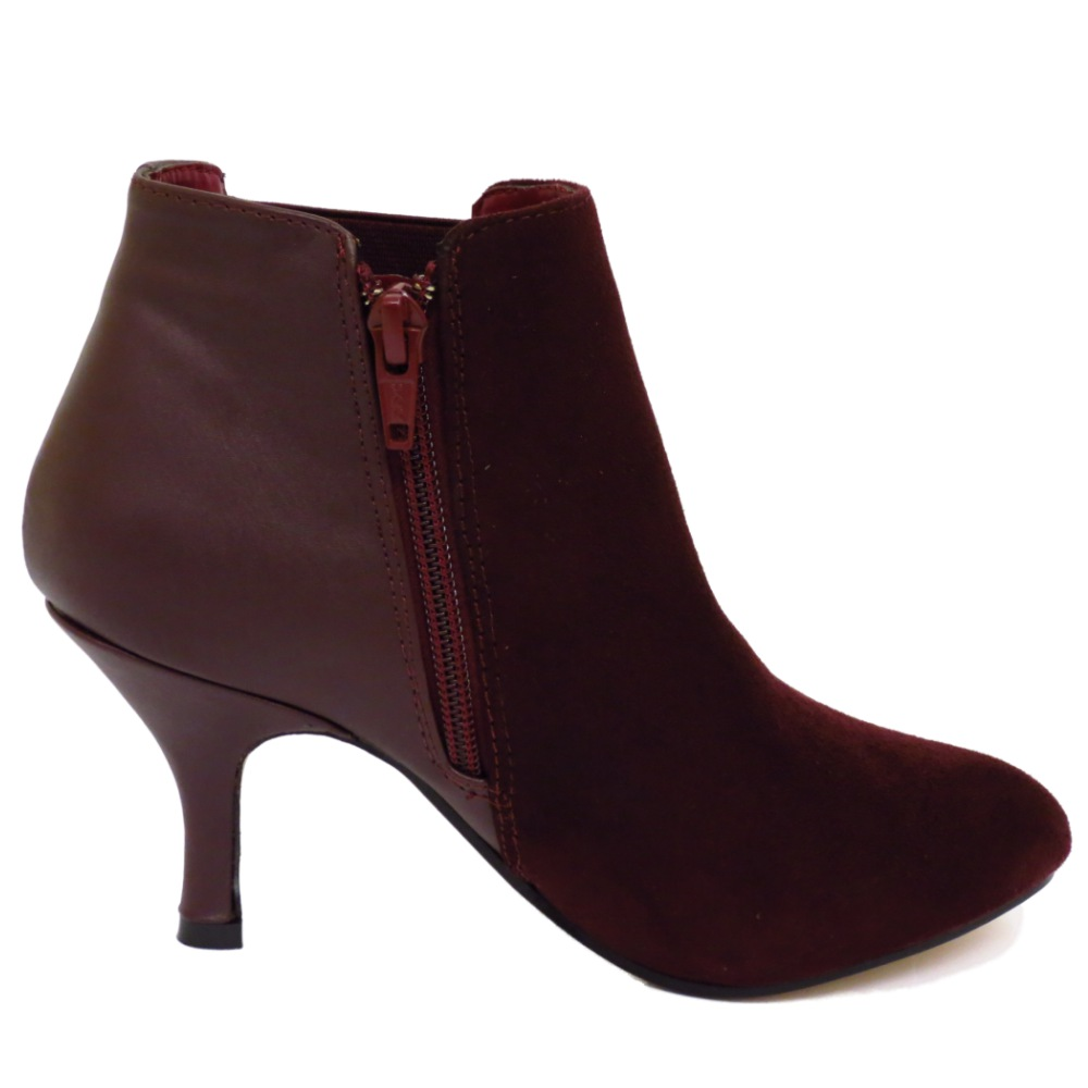 wine chelsea kitten heel faux suede zip up