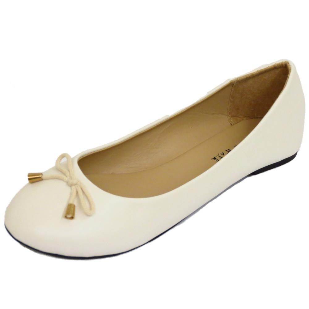 LADIES FLAT OFF-WHITE SLIP-ON WORK SCHOOL SHOES DOLLY BALLERINA PUMPS SIZES 3-8 | EBay