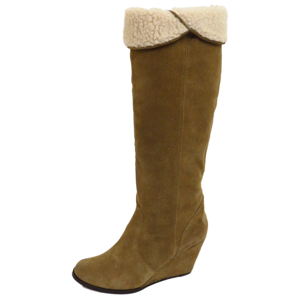 taupe suede leather fleece knee high wedge