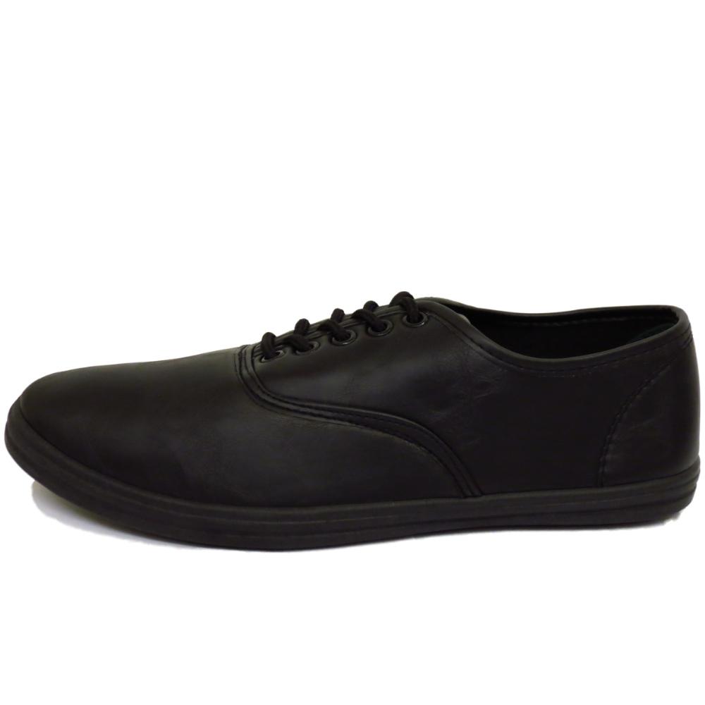 Homme noir casual plat pompes espadrilles chaussure lacée formateurs travaillent chaussures tailles 6-12