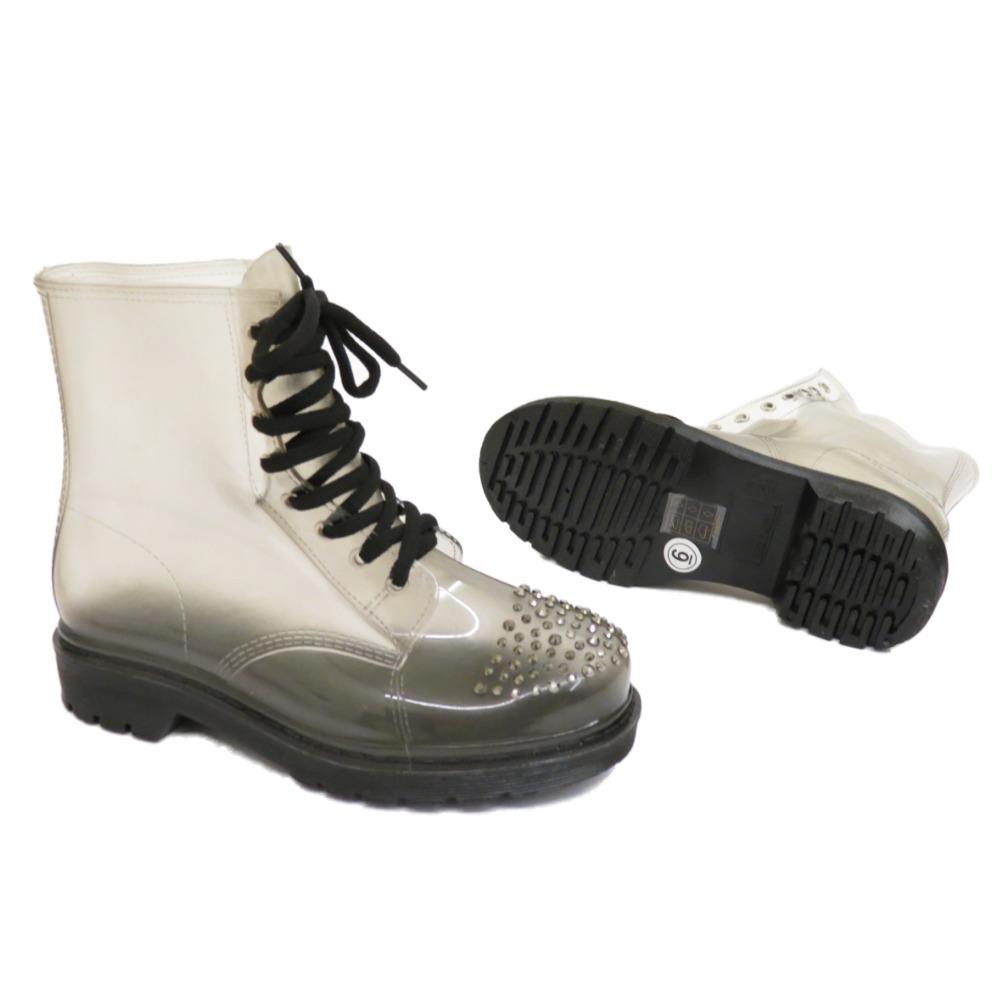 Señoras Plana Negro Transparente Festival Jelly más cordones Lluvia Tobillo Boot Zapatos 3-8