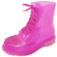 View Item LADIES FLAT PINK CLEAR FESTIVAL JELLY WELLIES LACE-UP RAIN ANKLE BOOT SHOES 3-8