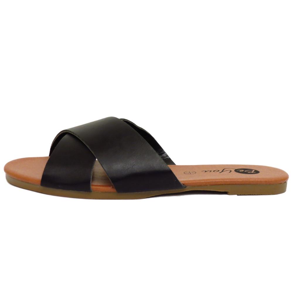 Señoras Negras Flip Flop Sandalias Mulas Zapatos Planos Deslizante Vacaciones Piscina bombas 4 y 8