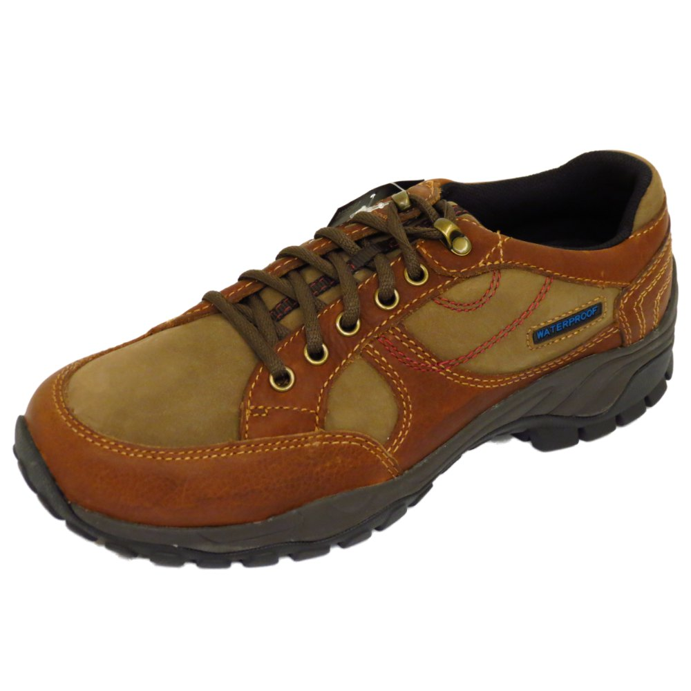 mens brown leather lace up waterproof work walking casual