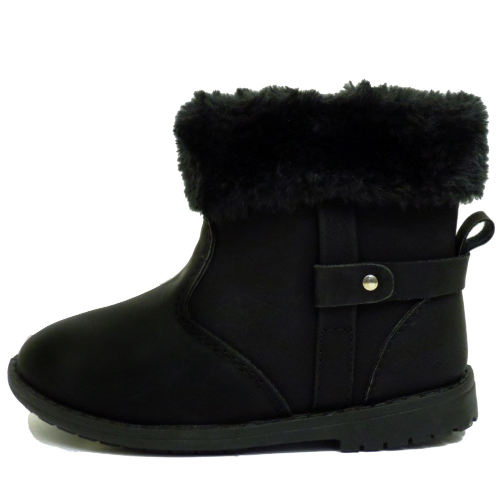 GIRLS CHILDRENS KIDS FLAT BLACK FUR ZIP-UP SNUG ANKLE BOOTS SHOES ...