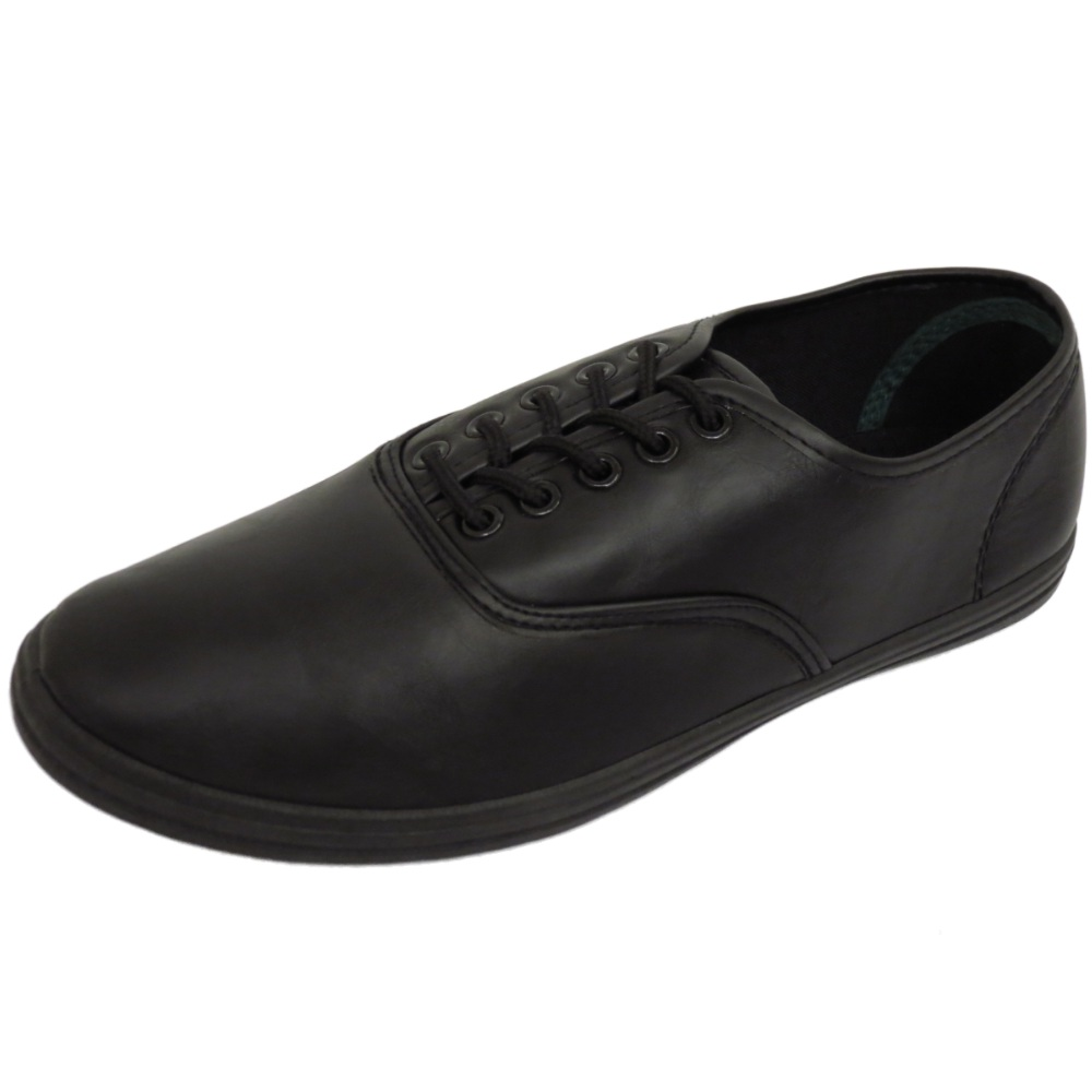 MENS FLAT BLACK COMFY LACE-UP PUMPS PLIMSOLES TRAINERS ...