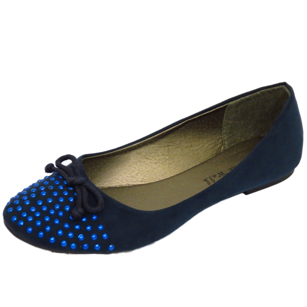LADIES NAVY BEADED SLIP-ON FLAT COMFY WORK SHOES DOLLY BALLERINA PUMPS UK 3-8 | EBay