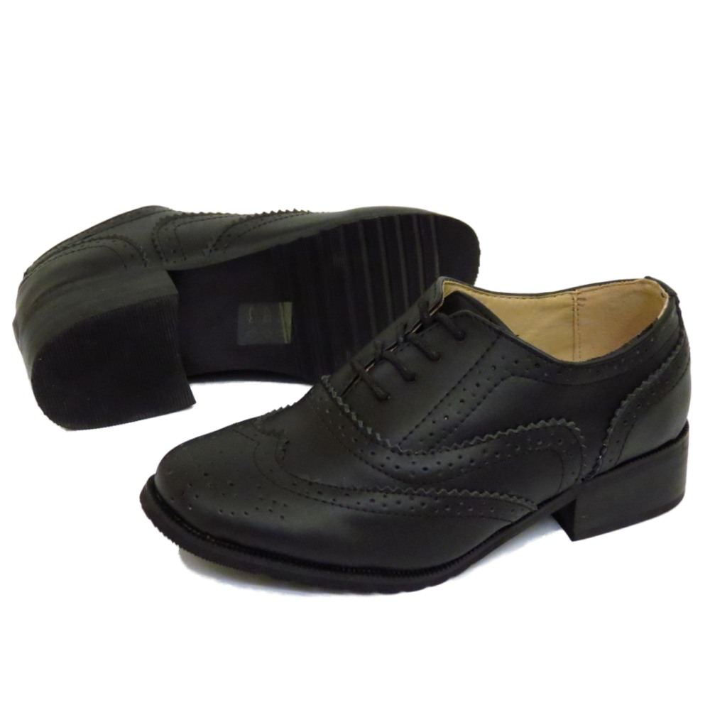 KIDS CHILDRENS BLACK LEATHER SMART OXFORD BROGUES LACE ...