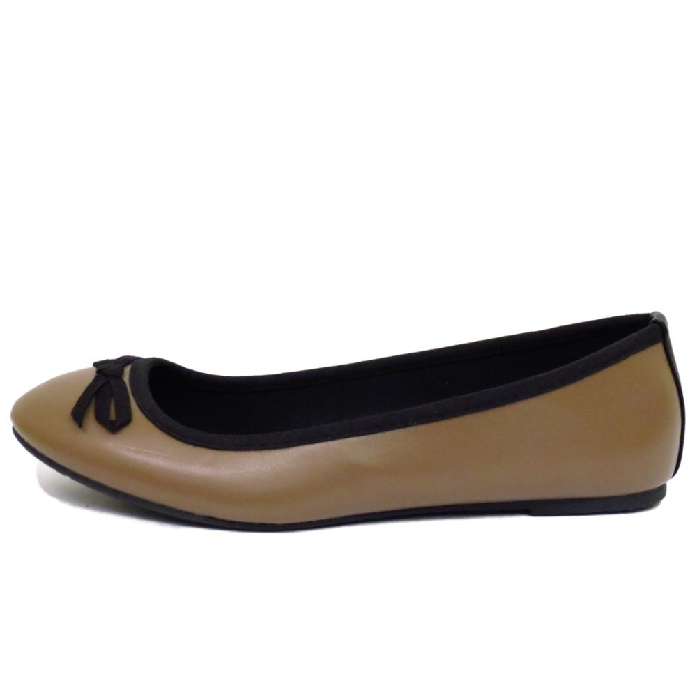 Señoras Marrón Plano Sin Cordones Zapatos Cómodos Bombas De Ballet Bailarina Casual Dolly UK 3-8