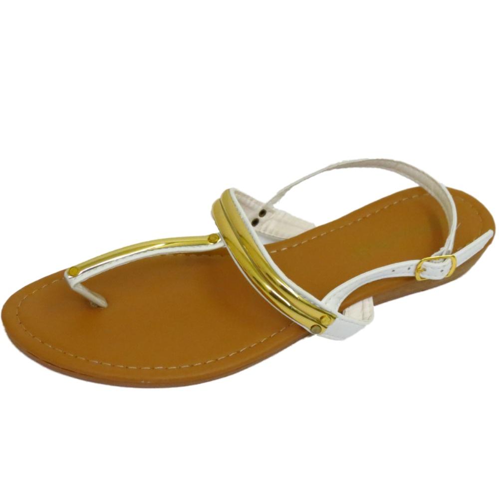 Para Mujer Oro Blanco T-Bar plana flip-flop Zapatos Sandalias De Verano Playa Vacaciones 3-8
