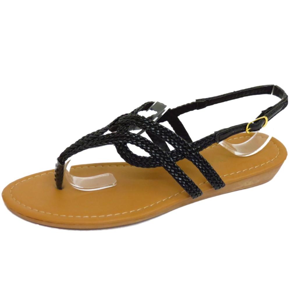 Womens Black Toe Post Plana Sandalias Flip-Flop Zapatos Bombas de playa de verano de 3-8