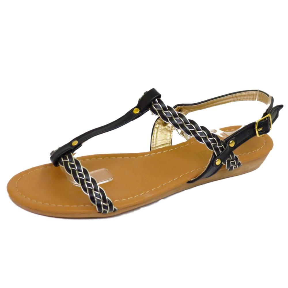 Black sandals holiday - Womens Flat Black Sandals Flip Flop T Bar Summer Beach Holiday Comfy Shoes 3 8