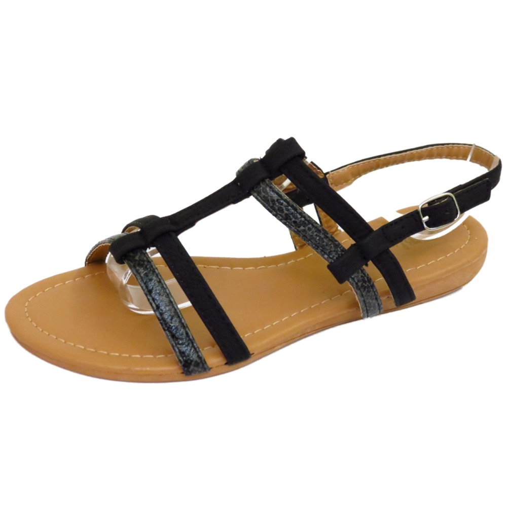 LADIES FLAT BLACK COMFY SANDALS FLIP FLOP SHOES