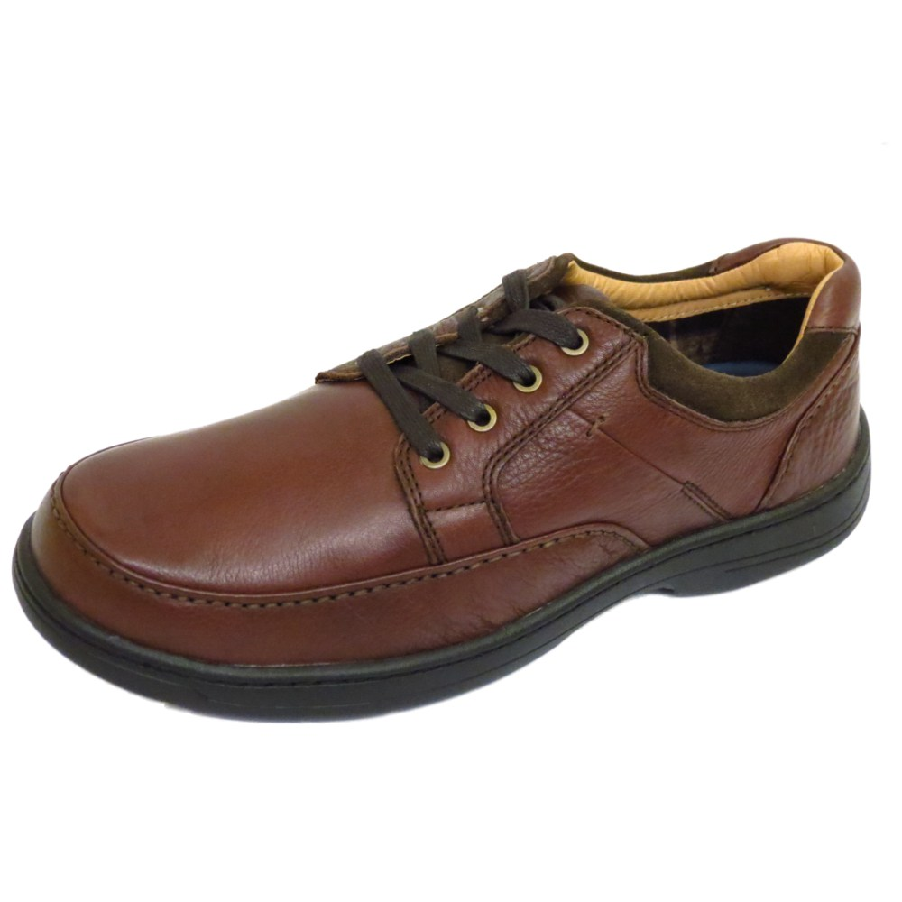 mens brown leather lace up wide fit walking casual