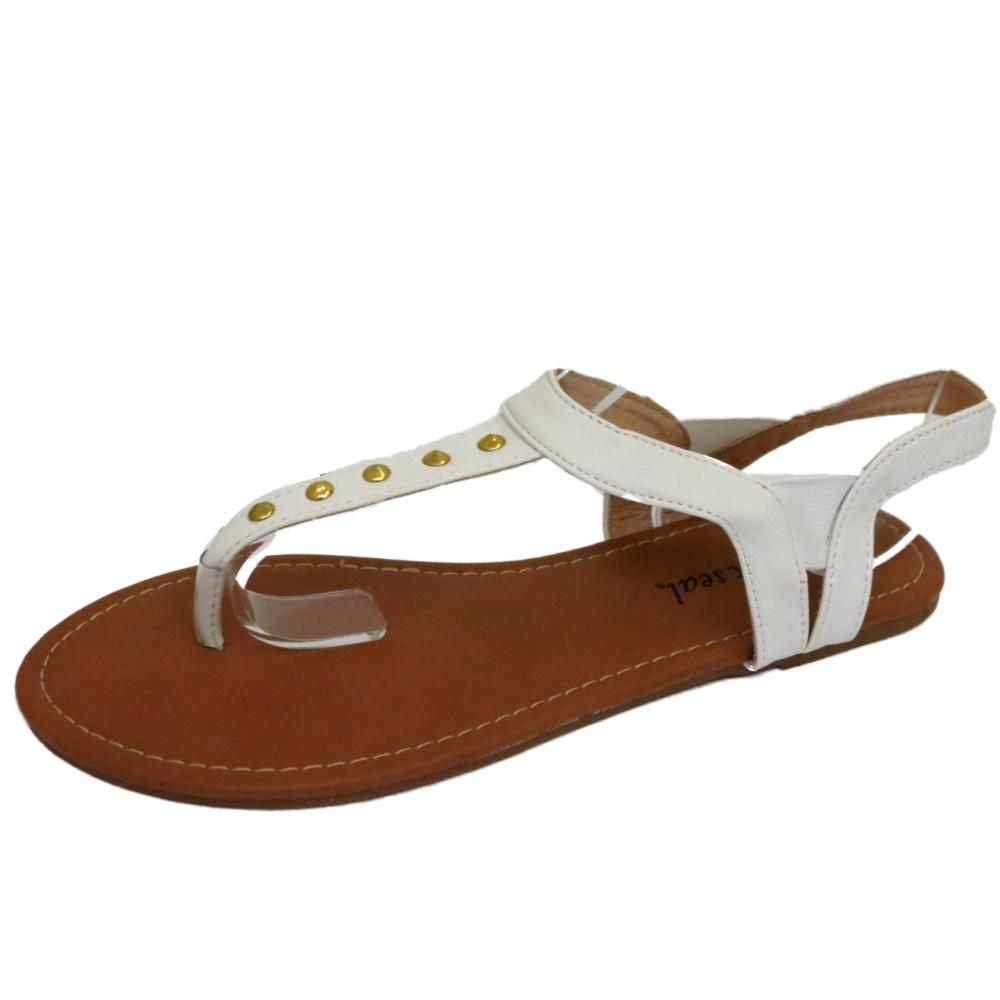 Señoras Blanca Plana del Dedo del Pie-Post Stud Elástico Cómodos Zapatos Sandalias Flip-Flop Zapatos De Salón 4-8