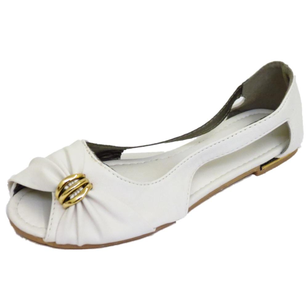 Señoras Blanco Plano Sin Cordones Zapatos Sin Puntera Bailarina Dolly cómodos bombas de ballet 3-7