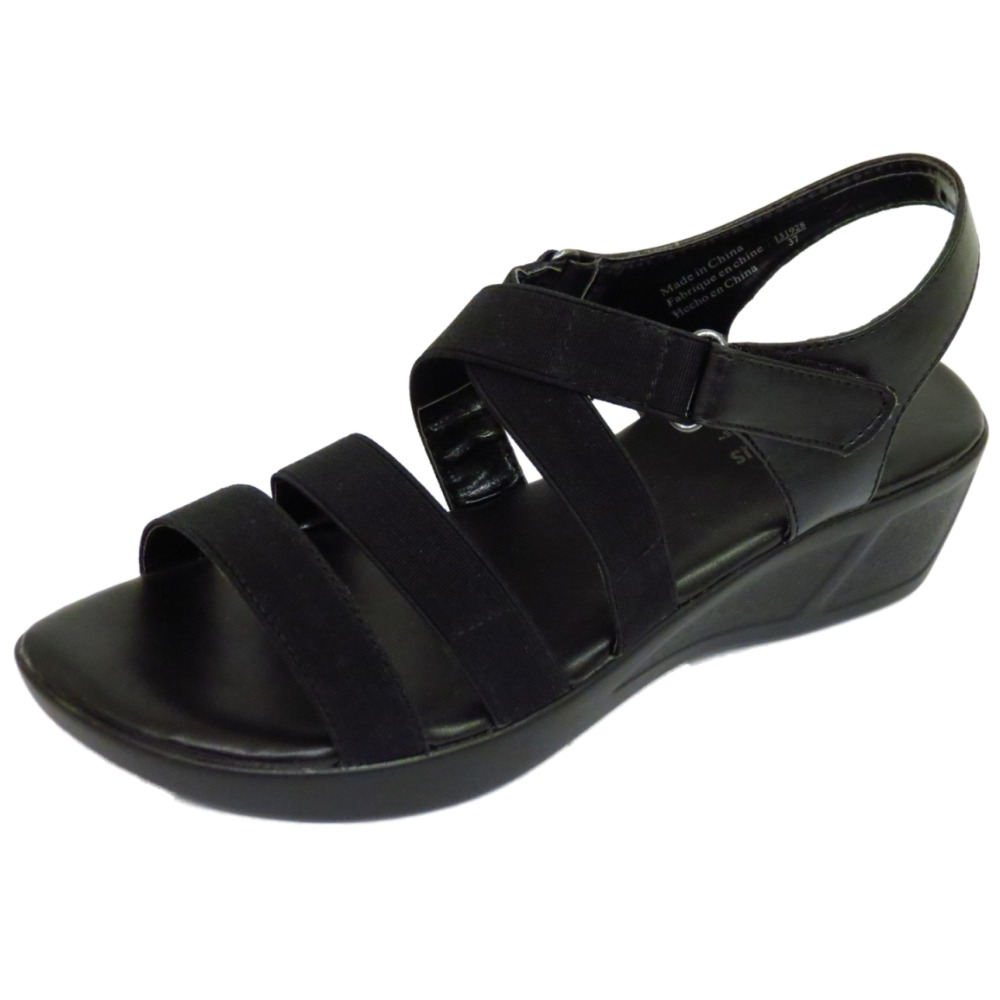 Black sandals ebay uk - Ladies Black Strappy Elastic Wedge Comfort Peep Toe
