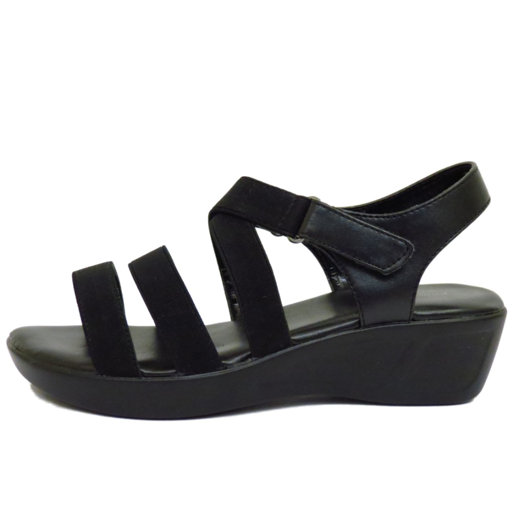 LADIES BLACK STRAPPY ELASTIC WEDGE COMFORT PEEP-TOE CASUAL ...