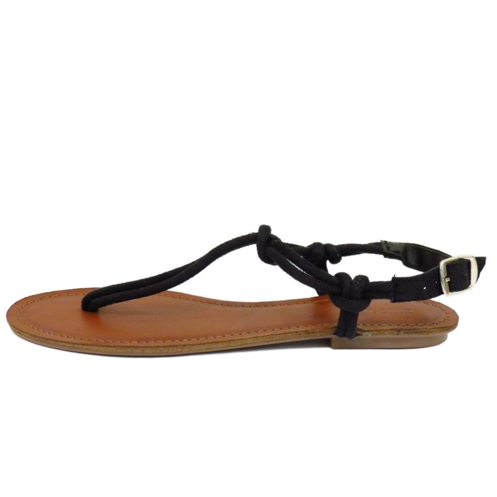 Black sandals holiday - Ladies Flat Black T Bar Sandal Flip Flop