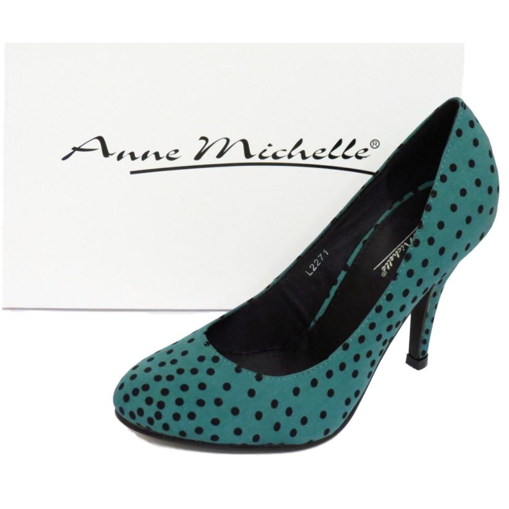 green slip on polka dot court stiletto high heel