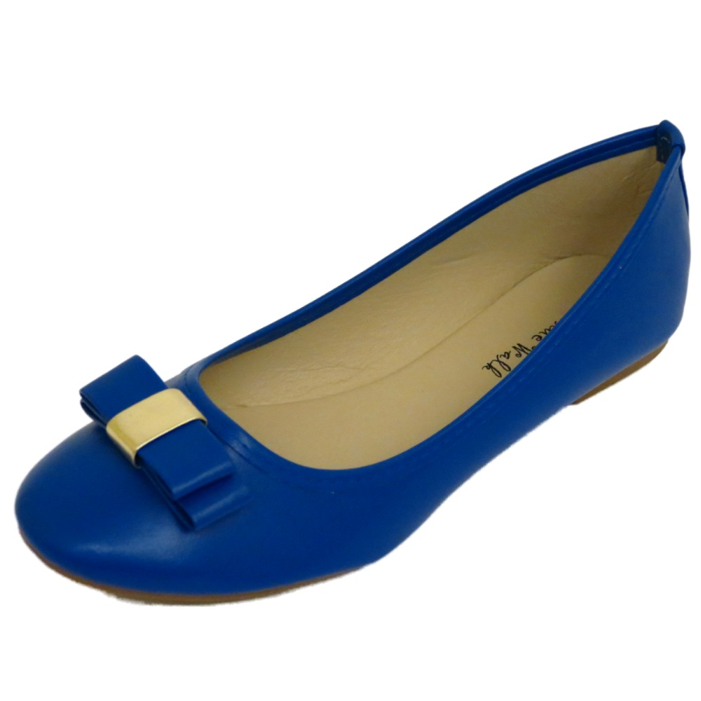 LADIES FLAT BLUE SLIP-ON WORK SCHOOL DOLLY BALLERINA BALLET PUMPS SHOES UK 3-8 | EBay