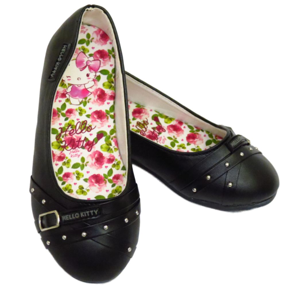 black hello slip on school dolly