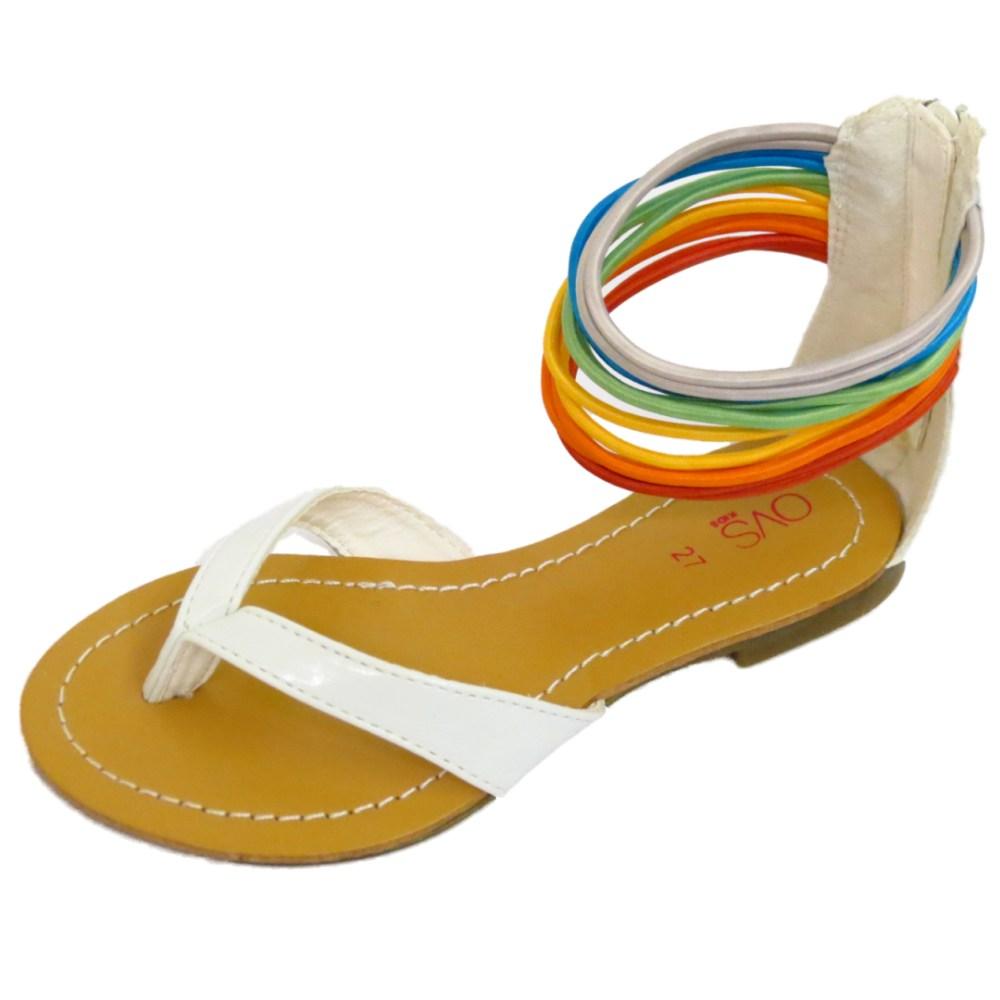 Niños Niñas Childrens blanco del Dedo del Pie-Post Sandalias Gladiador Flip-Flop Zapatos Tallas 7-11