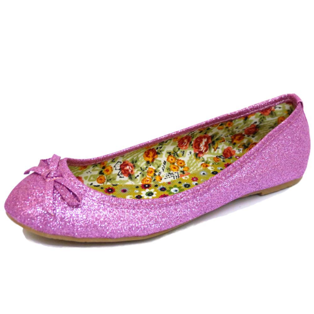 flat pink glitter slip on dolly comfy ballet