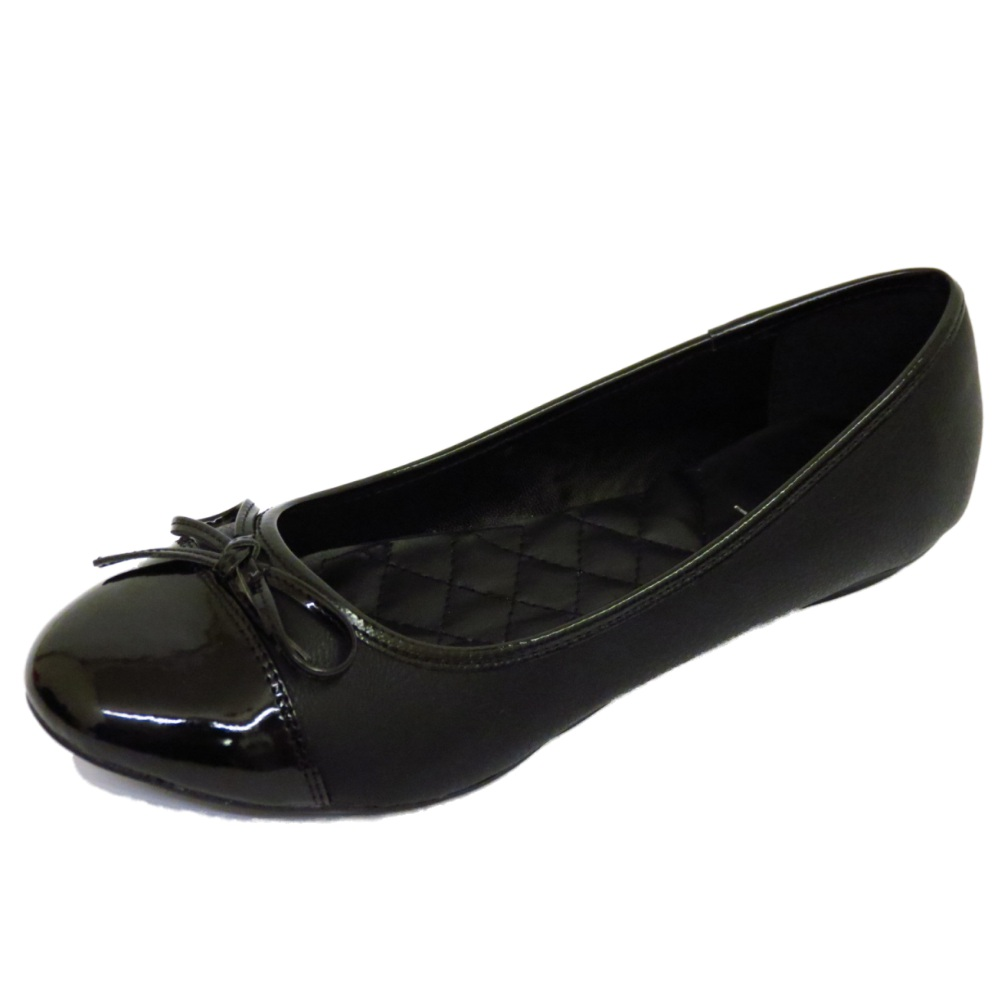 LADIES FLAT BLACK SLIP-ON COMFY WORK SHOES DOLLY BALLET ...