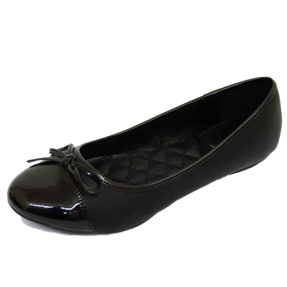 Black Leather Flat Shoes Ladies