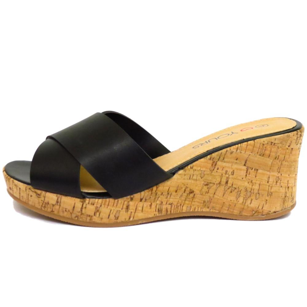 Wide fit sandals shoes uk - Ladies Black Slip On Wide Fit Eee Wedge