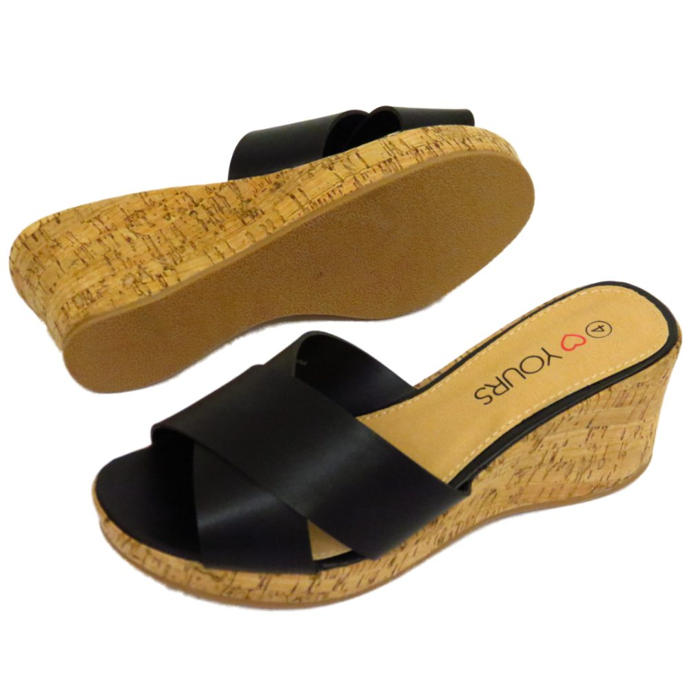 LADIES BLACK SLIP-ON WIDE-FIT EEE WEDGE PLATFORM PEEP-TOE