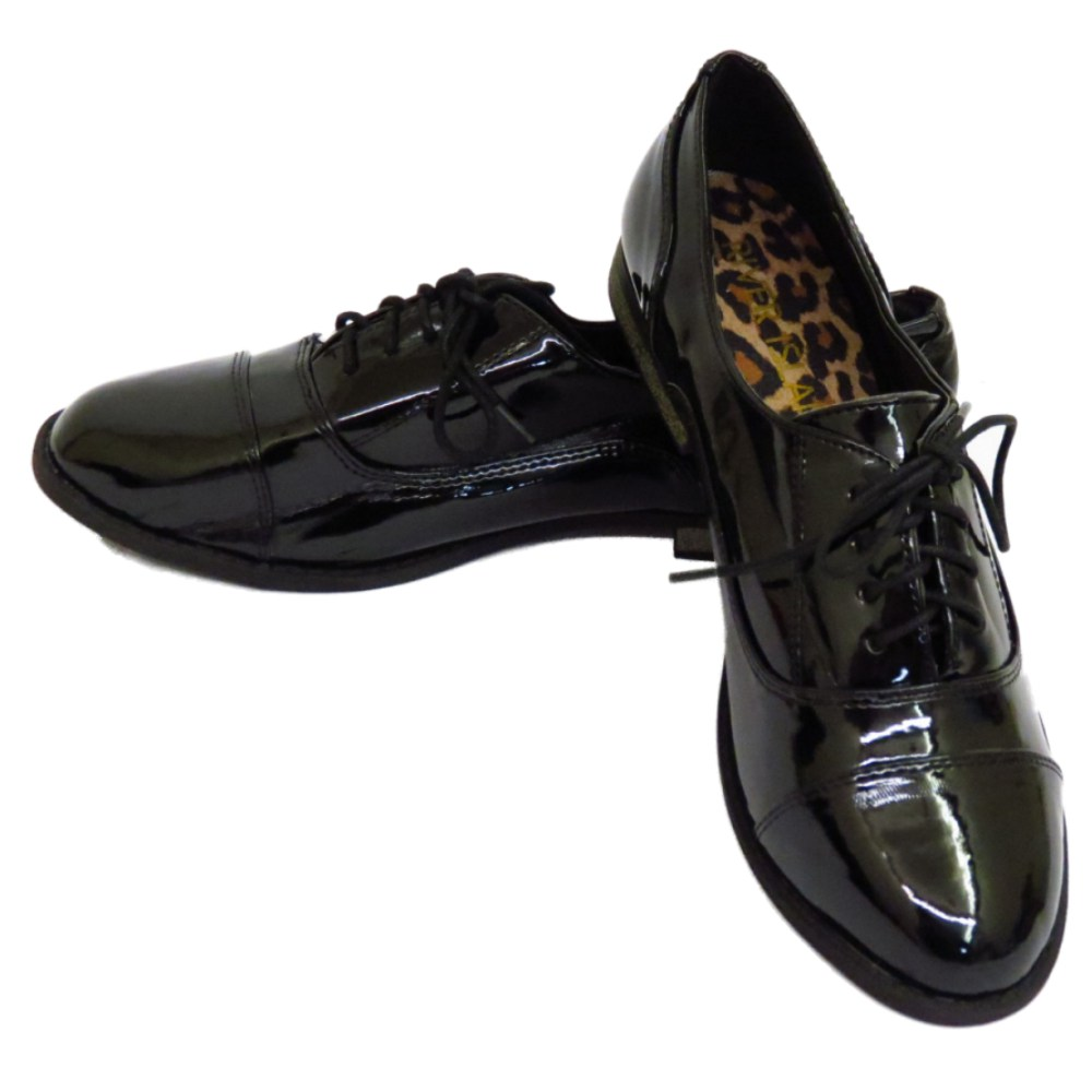 Ladies Black Lace Up School Shoes