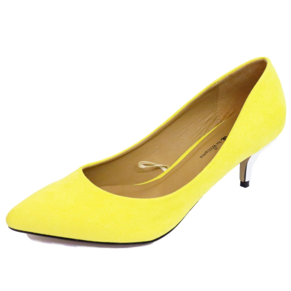 WOMENS LIME YELLOW SLIP-ON KITTEN HEEL COURT EVENING SHOES WORK ...