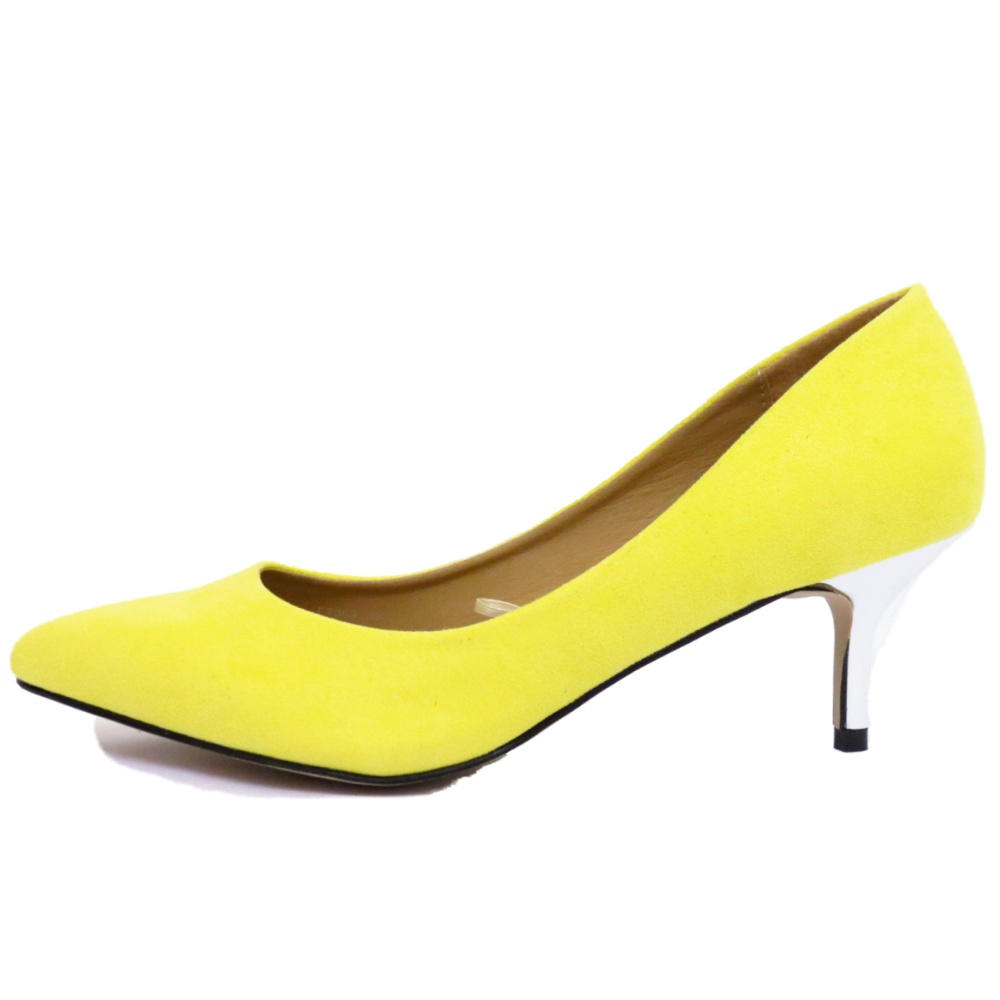 d86253124cfd Women s Patent Leather Pointed Toe Kitten Heels Gorgeous Pumps Evening  Stiletto Shoes 5.5CM. Yellow Kitten Heel Shoes Uk