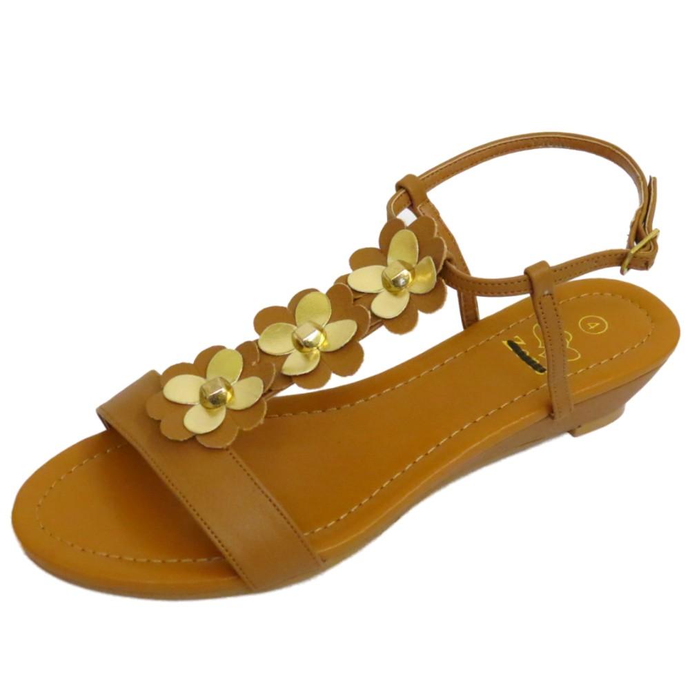 Señoras tan Baja Cuña Sin Puntera cómoda Summer T-Bar Sandalias Zapatos De Salón Tallas 4-7