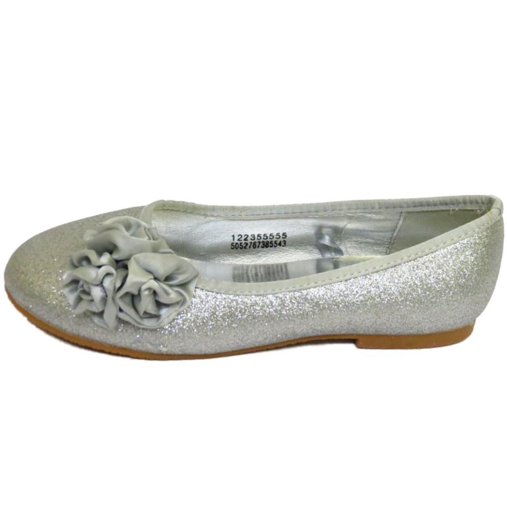 Kids S Childrens Flat Silver Glitter Wedding Bridesmaid