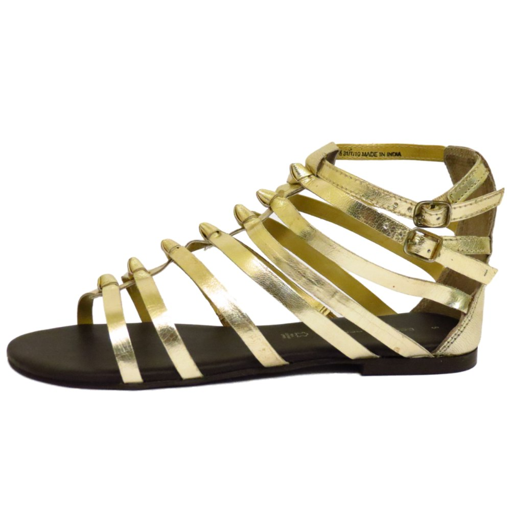 LADIES FLAT GOLD LEATHER GLADIATOR STRAPPY SANDALS SHOES ...