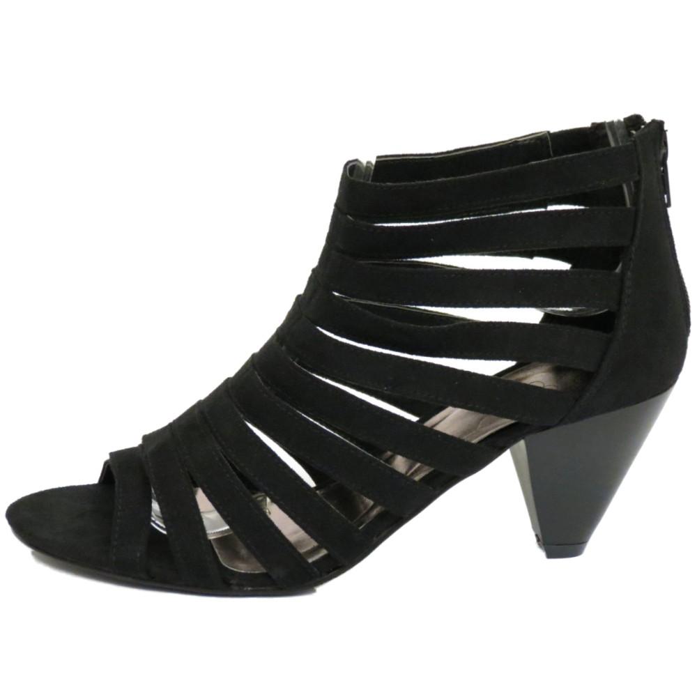 strappy black gladiator zip up peep toe high heel
