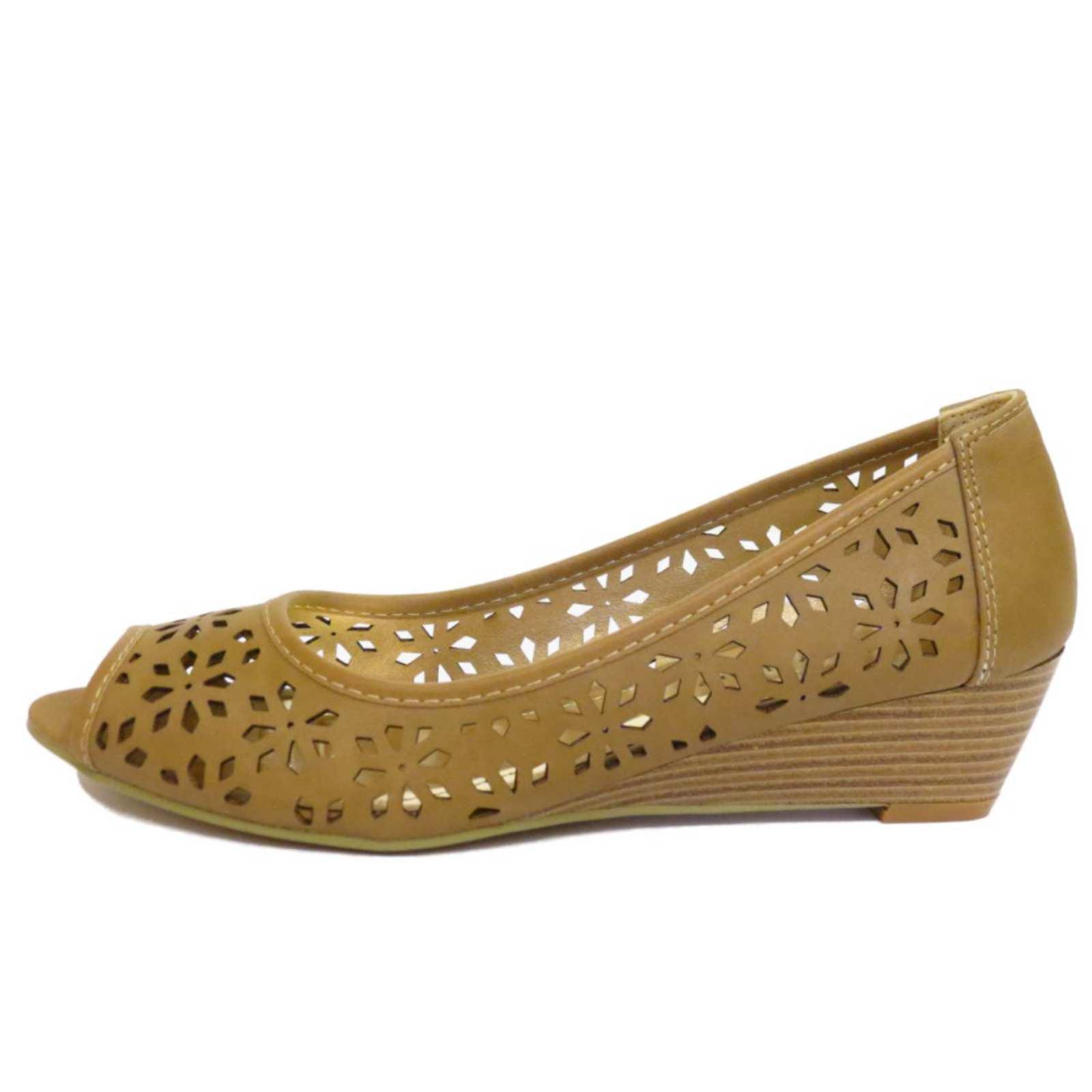peep toe slip on wedge low kitten heel pumps